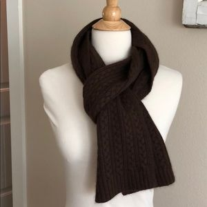 Ann Taylor brown wool cable knit scarf